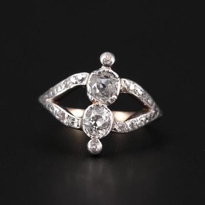 Victorian 14K Yellow Gold and Platinum Diamond Ring