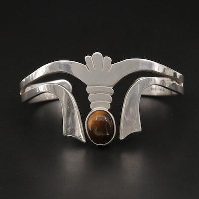Mexican Sterling Silver Tiger's Eye Quartz Cuff Bracelet