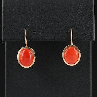 14K Yellow Gold Coral Drop Earrings