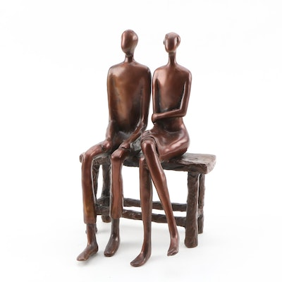 Abstract Cast Metal Figural Sculpture, 20th Century