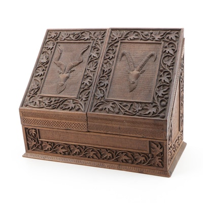 Black Forest Desk Box, Carved in Walnut with Animal Motifs, 19th Century