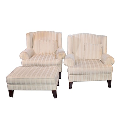 Sofa Express Wingback Chairs and Ottoman, Contemporary