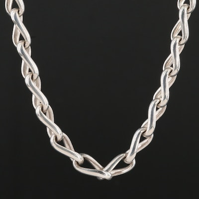Sterling Silver Twisted Cable Link Necklace