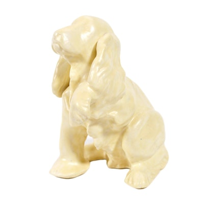 Rookwood Pottery White Cocker Spaniel Dog Figurine, 1989