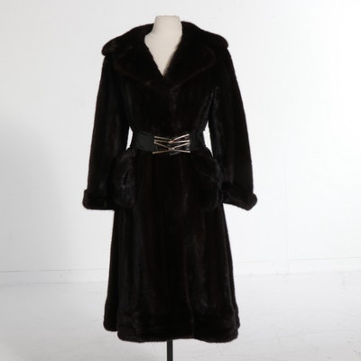 Mink Fur Belted Coat by Green Bay Furriers with Embroidered Lining, Vintage