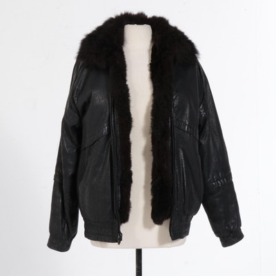 Black Leather Jacket with Lamb Fur Vest Zip Insert, circa 1980