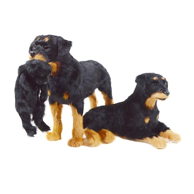 Fur Covered Rottweiler Dog Family Figurines