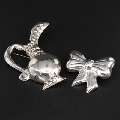 Mexican Sterling Silver Ewer Motif Turquoise Brooch and Bow Converter Brooch