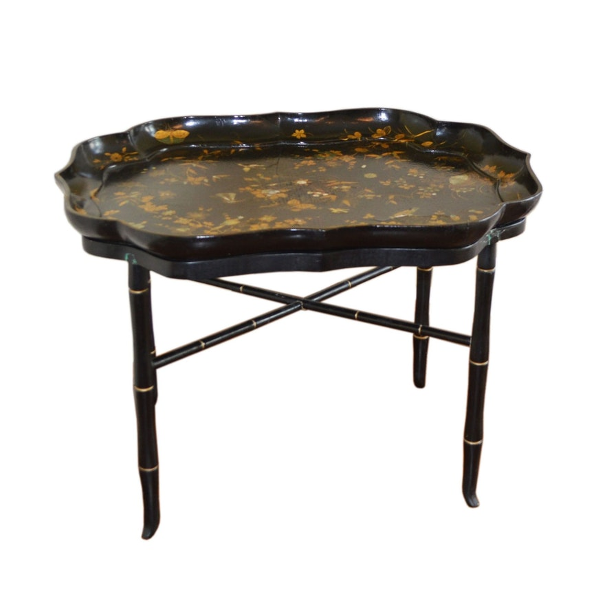 Chinoiserie Mother-of-Pearl Inlay Black Lacquer Tray Table, Early 20th Century