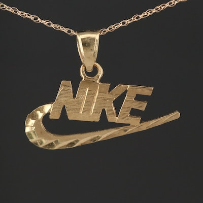 """10K Yellow Gold """"Nike"""" Pendant Chain Necklace"""