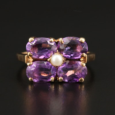 10K Yellow Gold Amethyst and Cultured Pearl Ring