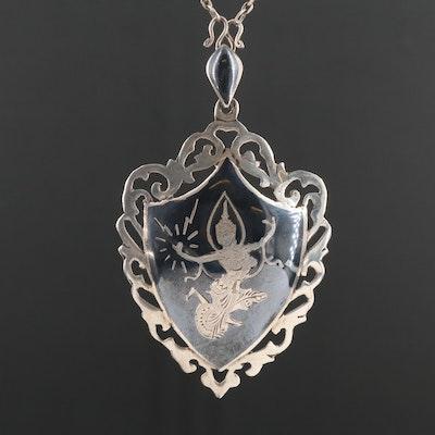 Sterling Silver Niello Enamel Pendant Necklace