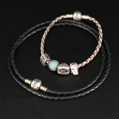 Pandora Sterling Silver Woven Leather Charm Bracelets