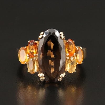 10K Yellow Gold Smoky Quartz and Citrine Ring