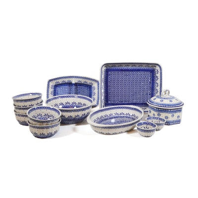 Boleslawiec Polish Pottery Blue and White Casseroles, Dinnerware and More
