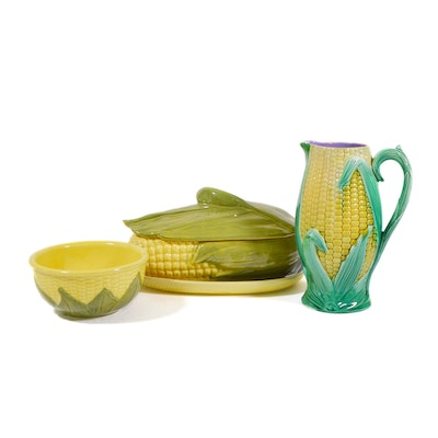 "Shawnee ""Corn King"" Covered Casserole and Other Corn Theme Pottery"