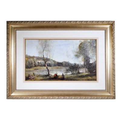 """Offset Lithograph After Camille Corot """"Ville d'Avray: Pond and Birch Tree"""""""