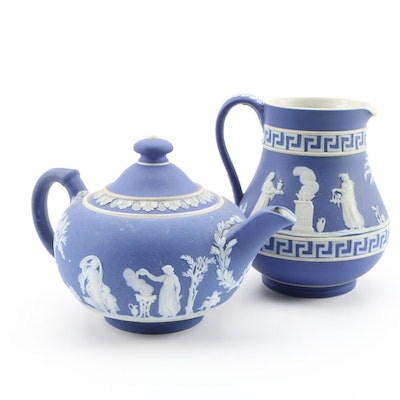 Wedgwood Blue Jasperware Teapot and Creamer, Vintage