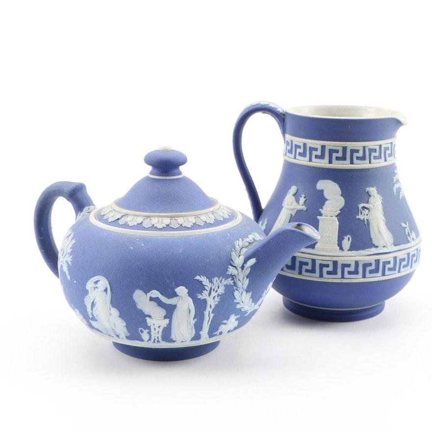 Wedgwood Blue Jasperware Teapot and Creamer, Vintage