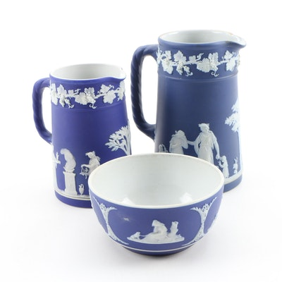 Wedgwood Blue Jasperware Cream Pitchers and Open Sugar Bowl, Vintage