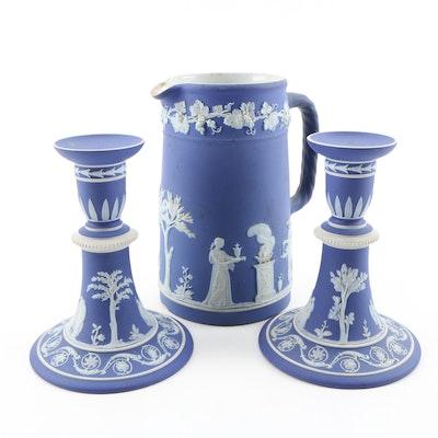 Wedgwood Blue Jasperware Pitcher and Candlesticks, Vintage