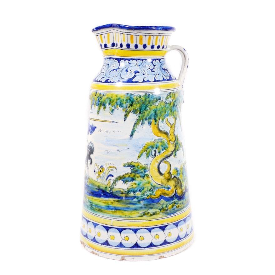 Spanish Talavera Pottery Hand-Painted Oversized Pitcher Vase