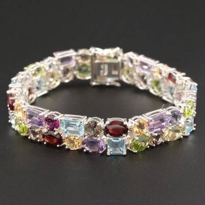 Sterling Silver Mixed Gemstone Bracelet