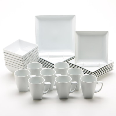 Crate and Barrel White Dinnerware