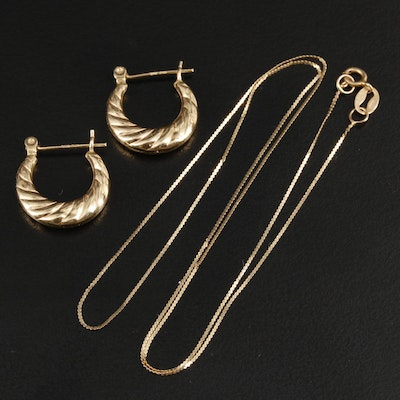 14K Yellow Gold Fluted Hoop Earrings with Serpentine Link Chain Necklace