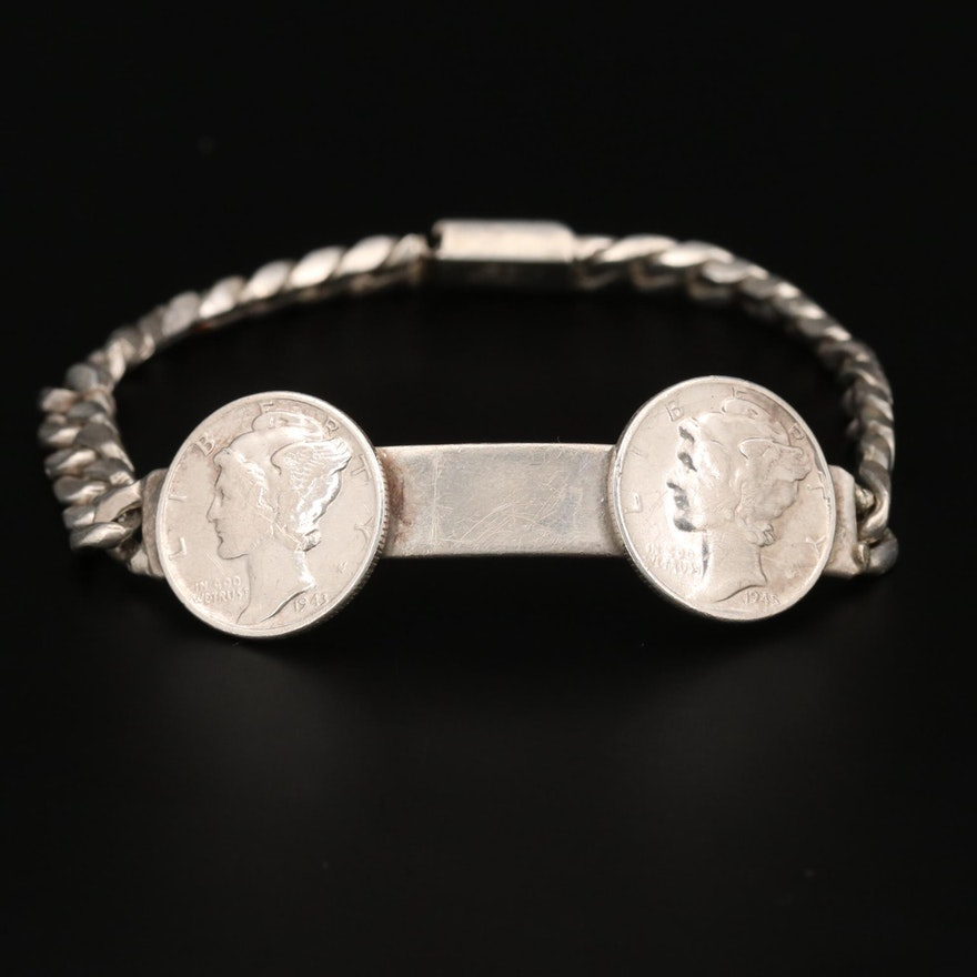 Mexican Sterling ID Bracelet with Mercury Head Dimes