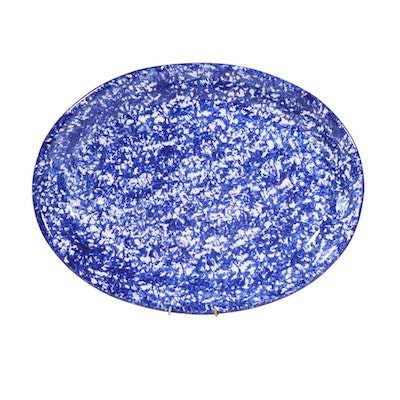 Italian Blue and White Spongeware Oval Platter