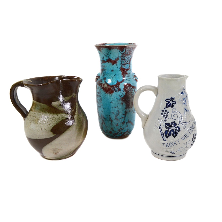 Jugtown Ware Pottery Vase with Wick-Werke and Other Pottery Pitchers