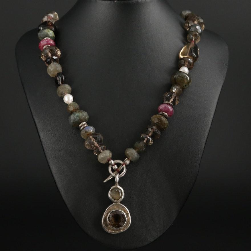Sterling Silver Smoky Quartz, Labradorite, and Ruby Necklace