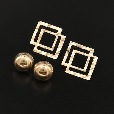 14K Yellow Gold Hammered and Dome Earrings