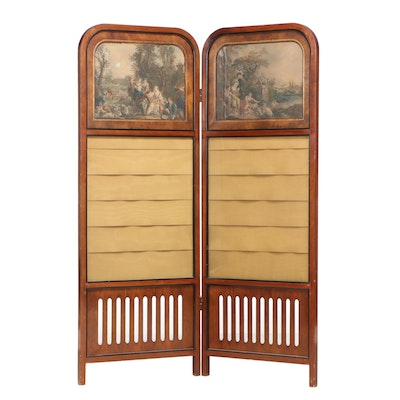 Fruitwood and Silk-Lined Bi-Fold Screen with Engravings after François Boucher