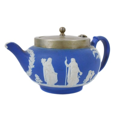 Wedgwood Blue Jasperware Teapot with Metal Lid, Vintage