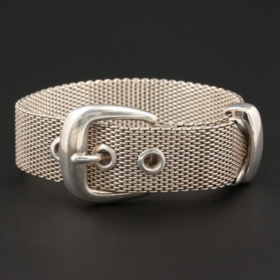 Ralph Lauren Sterling Mesh Buckle Bracelet