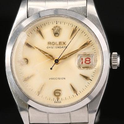 Vintage Rolex Oysterdate Precision 6494 Stem Wind Wristwatch, 1956