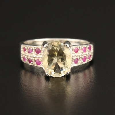 Sterling Silver Citrine and Ruby Ring