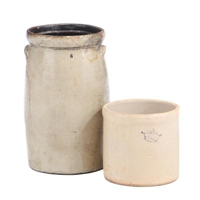 Vintage 2-Gallon and 6-Gallon Stoneware Crocks