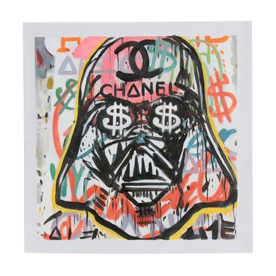 Oil Painting after Alec Monopoly of Graffiti Style Darth Vader