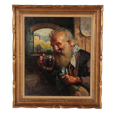 A. Albano Portrait Oil Painting of Older Gentleman Drinking