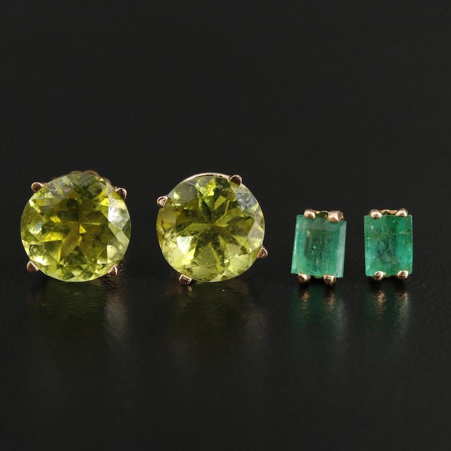 14K Yellow Gold Emerald and Peridot Stud Earrings