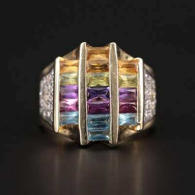 14K Yellow Gold Blue Topaz, Citrine, Peridot, Garnet, Amethyst and Diamond Ring