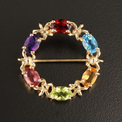 14K Yellow Gold Multi-Gemstone Brooch Including Pink Tourmaline