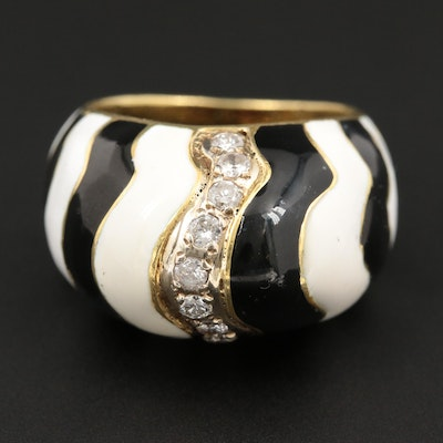 18K Yellow Gold Diamond and Resin Enamel Ring