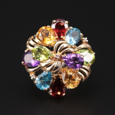 14K White Gold Amethyst, Citrine, Peridot, Blue Topaz, Garnet, Diamond Ring