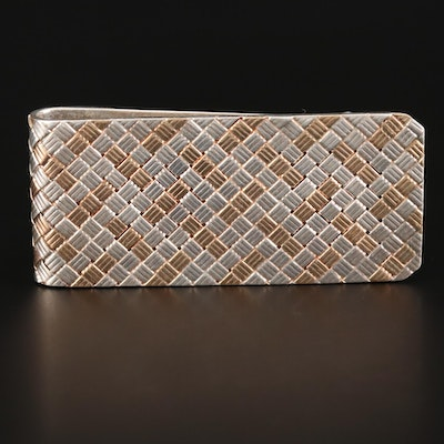 Sterling Silver and 14K Yellow Gold Woven Motif Money Clip