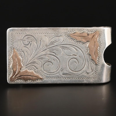 Sterling Silver Money Clip with 10K Yellow Gold Money Clip