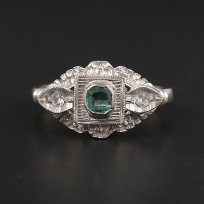 Vintage 10K White Gold Emerald and Spinel Ring
